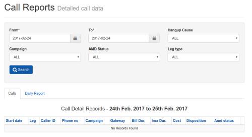 Call Report Filter