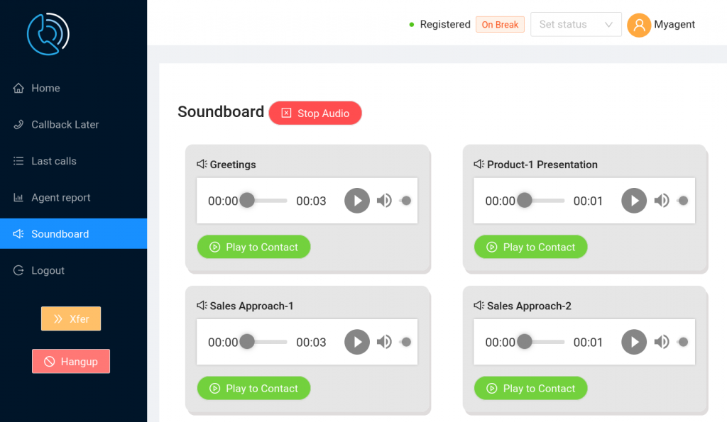 Agent User Interface Soundboard